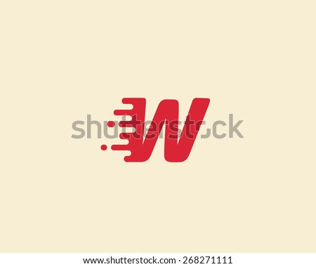 Abstract letter W logo design template.  Dynamic vector unusual font. Universal fast speed fire moving water quick energy drop icon. - stock vector