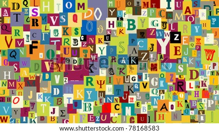 Abstract letters background, graphic illustration - stock vector