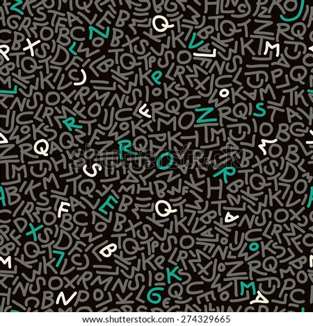 abstract letters doodle seamless pattern - stock vector