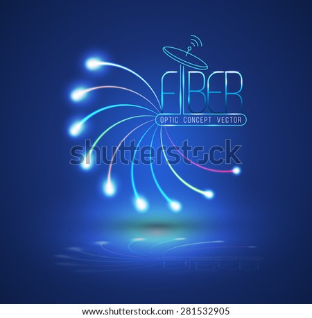 Abstract Light and line. Vector illustration. Can use for finer optic concept advertising. Fiber optic connection, business communication, network technology, can use for brochure and  infographic - stock vector