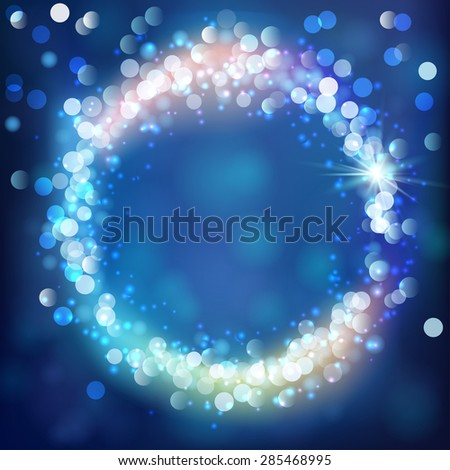 Abstract light background. Round bokeh lights frame. Vector illustration - stock vector