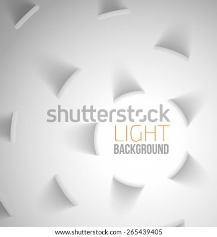 Abstract light background with circle elements with drop shadows. Vector illustration - stock vector