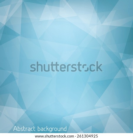 Abstract light blue background textured by triangles. CMYK color mode. Geometrical vector pattern - stock vector