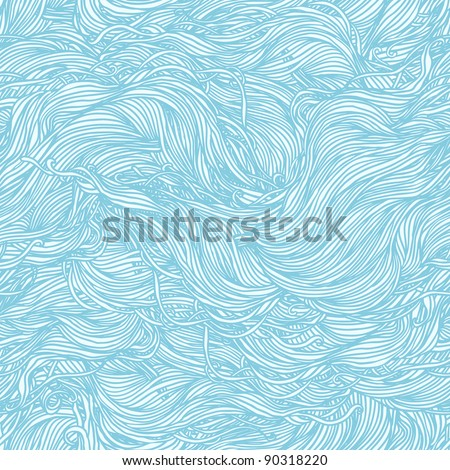 Abstract light blue hand-drawn pattern, waves background. Seamless pattern can be used for wallpaper, pattern fills, web page background, surface textures.