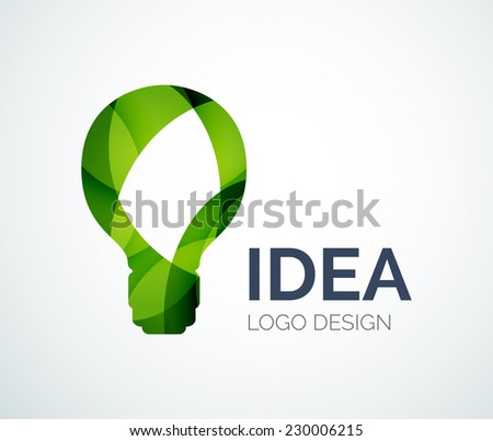 Abstract light bulb logo design made of color pieces - various geometric shapes - stock vector