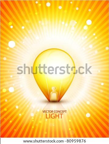 Abstract light bulb on orange shiny background - stock vector