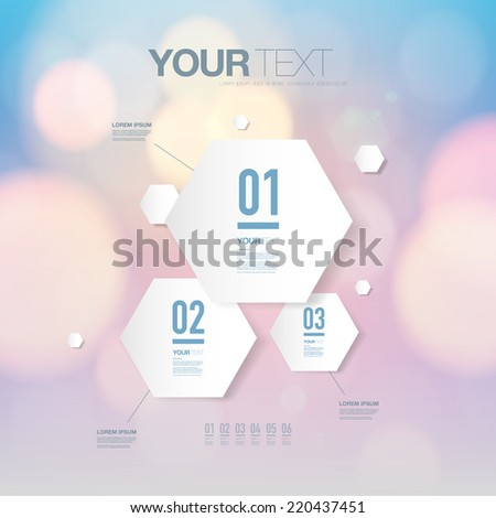 Abstract light futuristic hexagon shape infographic design template for your business presentation with text and numbers.  Eps 10 stock vector illustration - stock vector