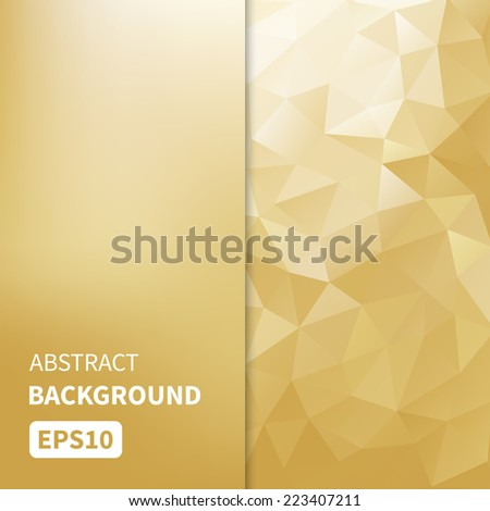 Abstract light gold vector geometric background with triangles EPS10  - stock vector