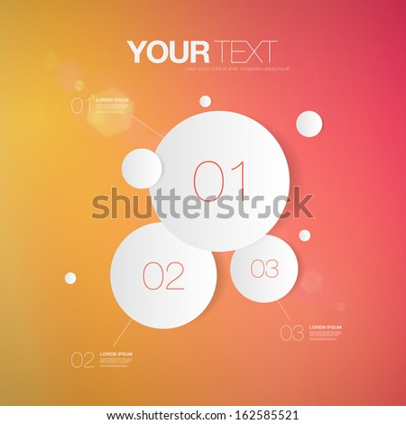 Abstract light numbered circle infographic design with your text and colorful background Eps 10 vector illustration  can be used for workflow layout, diagram, number options, web design. - stock vector