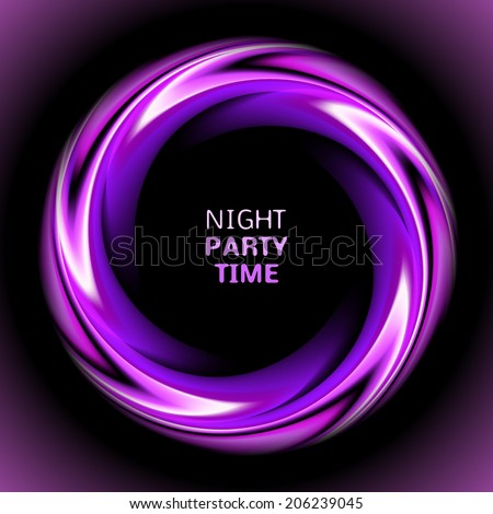 Abstract light purple swirl circle on black background. Vector illustration for you modern design. Round frame or banner with place for text. Night party time. - stock vector