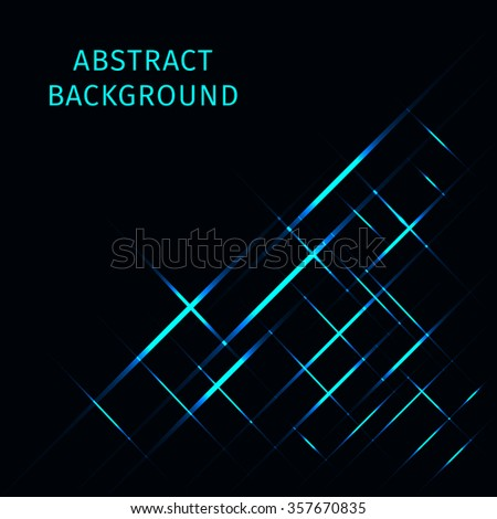 Abstract lights azure strips on dark background - stock vector