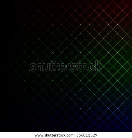 Abstract lights gradient strips on dark background - stock vector