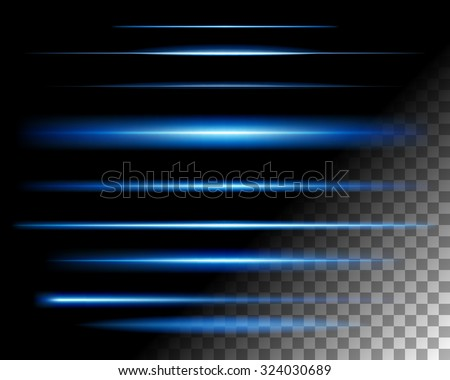 Abstract lights lines on transparent background vector illustration. Easy replace use to any image. - stock vector