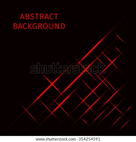 Abstract lights red strips on dark background - stock vector