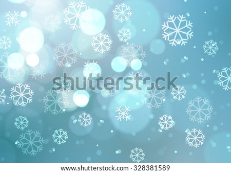 Abstract Lights with Snowflakes on Blue Background, Vector Illustration - stock vector