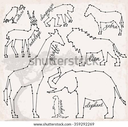 Abstract Line and Dot Savanna Animals Set Vector Illustrations - stock vector