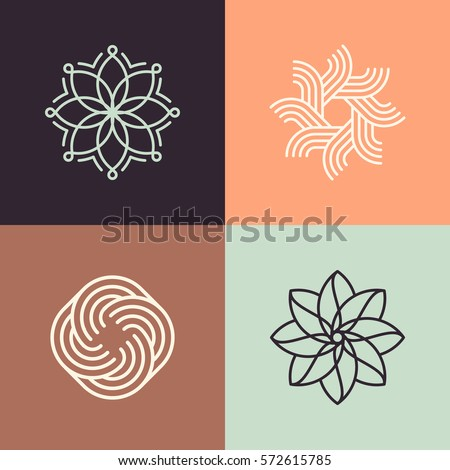 Abstract line pattern logos. Good fro spa, yoga, pilates concept. Eps10 vector symbols.