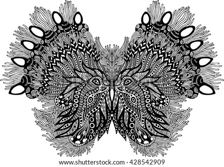 abstract linear butterfly - stock vector