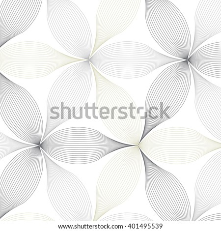 Abstract linear petal flower. Vector pattern - stock vector