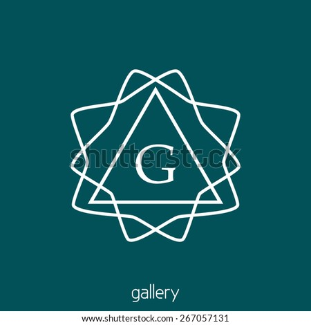 Abstract linear simple logo with letter G for gallery or other. Hipster vector monogram - stock vector