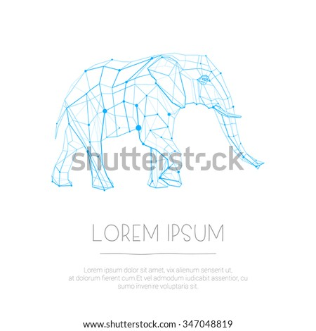 Abstract lined graphic geometric elephant for use in design for card, poster, banner, placard, brochures, wallpapers, web or billboard cover - stock vector
