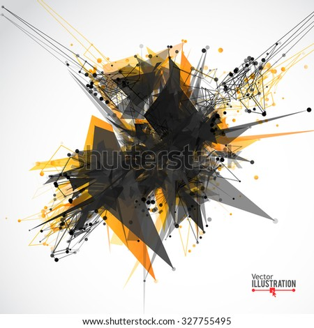 Abstract Lines and Dots Connection Concept. Polygonal science background. Geometric Modern Technology Concept. Digital Data Visualization. Vector illustration. - stock vector