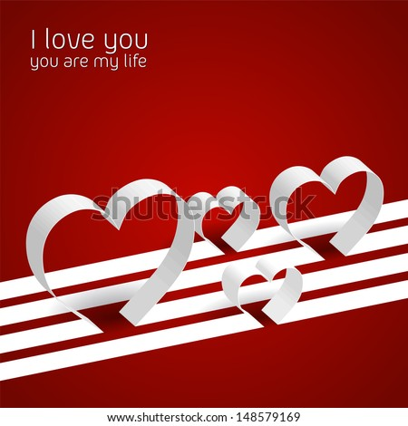 Abstract lines and hearts from paper - vector background - EPS10 - stock vector