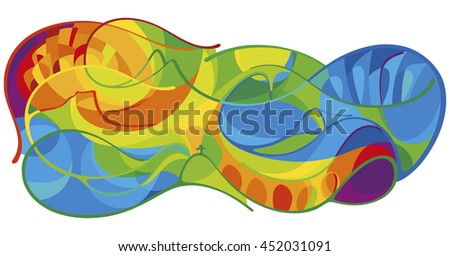 Abstract lines, background. Vector summer colorful background. Abstract colorful lines background in brazilian flag colors. Brazil Summer 2016 Games Rio de Janeiro sport gold medal event