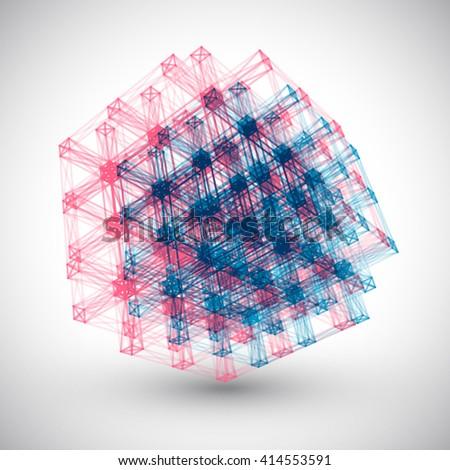 Abstract Lines Cube Vector Element. Abstract Logo. Logo Design. 3D Logo. - stock vector