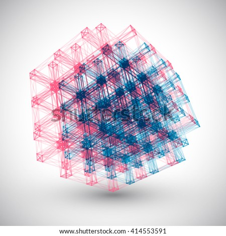 Abstract Lines Cube Vector Element. Logo 3D Design. - stock vector