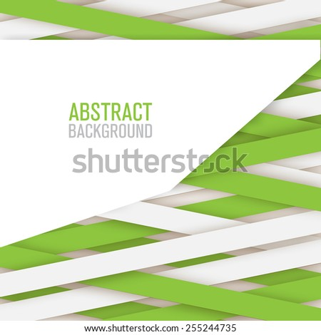 Abstract lines paper background green and white color - stock vector