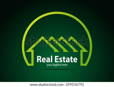 Abstract lines symbols or logos for real estate company - stock vector