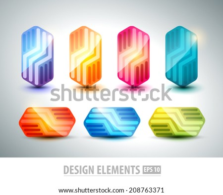 Abstract logo design elements set. Color icons pack isolated on white background