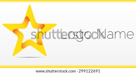 Abstract logo design, yellow star - stock vector