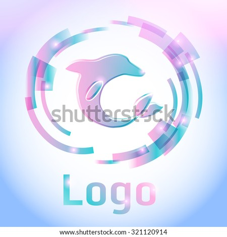 Abstract logo dolphin with multicolored stripes on bright background  - vector illustration