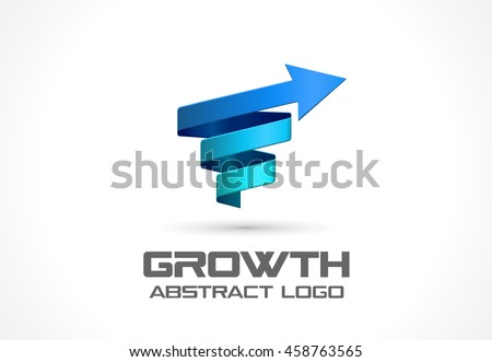Abstract logo for business company. Corporate identity design element. Technology, Science, Industrial and growth Logotype idea. Arrow up, wave, connect, spring, rotation, spiral concept. Colorful