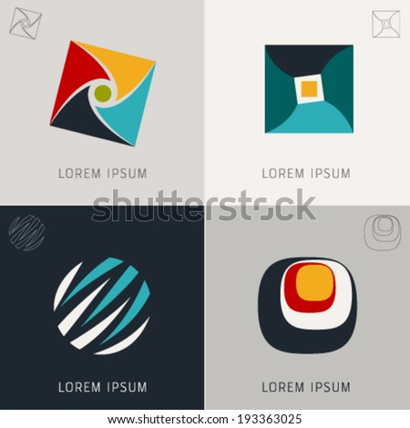 "Abstract logo Icons Set and Vector Illustration, Business, Globe, Web, Info Symbols, ""Lorem Ipsum"", Graphic Design Editable For Your Design. - stock vector"