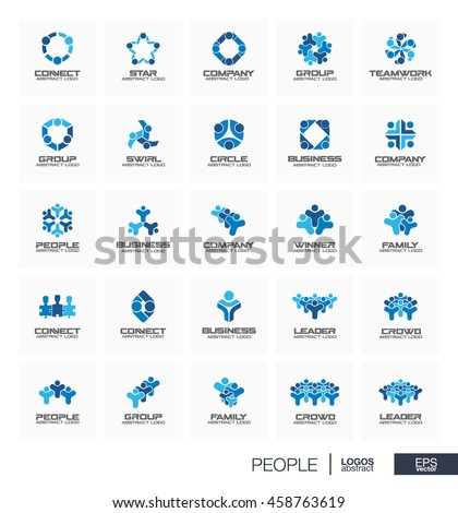Abstract logo set for business company. Corporate identity design elements. People leader, crowd, winner, family connect concept. Teamwork, sport, team, children logotype collection. Vector icons