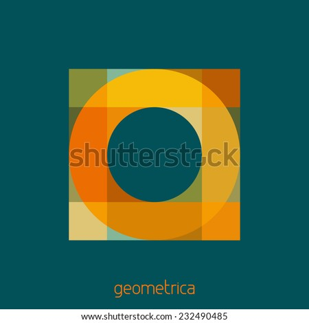 Abstract logo template. Square with a round hole on a sherpa blue background. Vector - stock vector