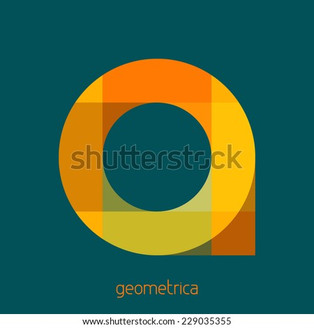 Abstract logo template with rounded geometrical shape on a sherpa blue background. Vector - stock vector