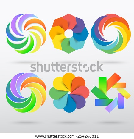 Abstract logo templates set. Vector icons for any type of business. - stock vector