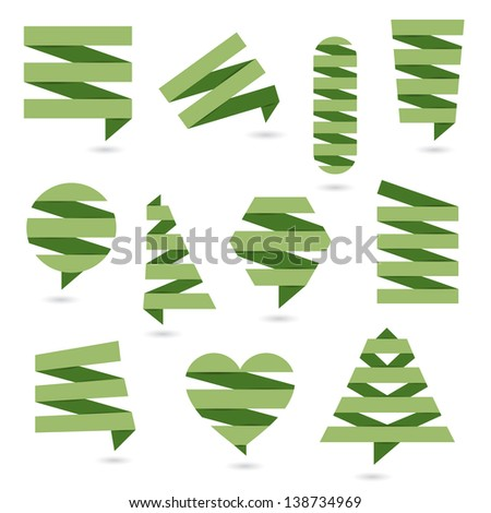 Abstract logos and elements for design. Green paper eco design. - stock vector