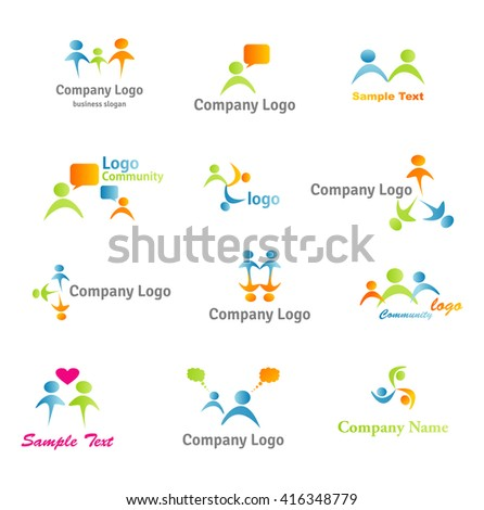 Abstract logos. Social People logos. Colorful logo collection. Human symbols,family logotypes, Community Logos Set