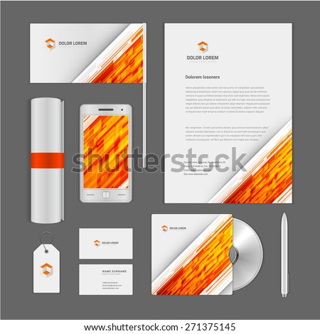 Abstract Logotype corporate identity template Mock up design elements. Vector clean white Business stationery, cd, flag, document, business card, smart phone, sale tag. - stock vector