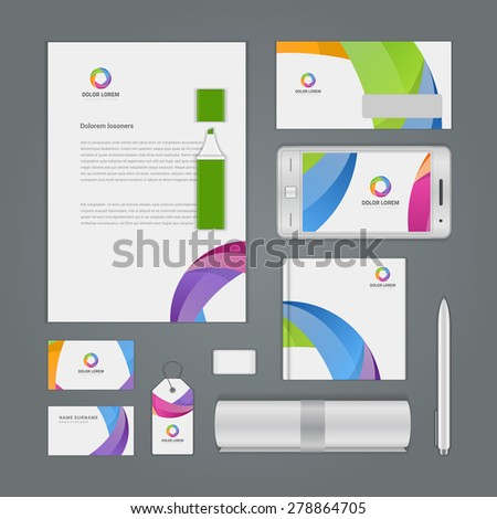 Abstract Logotype corporate identity template Mock up design elements. Vector illustration white Business stationery objects. - stock vector