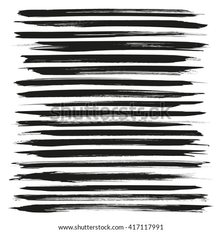 Abstract long black vector brush strokes isolated on a white background