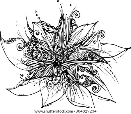 Abstract lotus flower image in line art