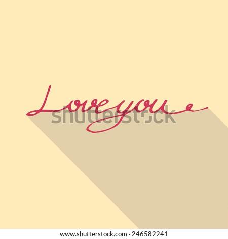"abstract love design, ""love you"" inscription - stock vector"