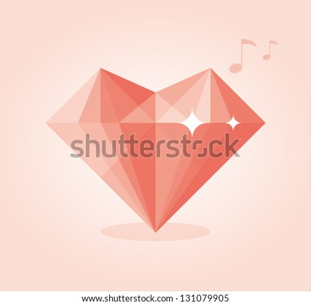 Abstract love diamond with musical notes - stock vector
