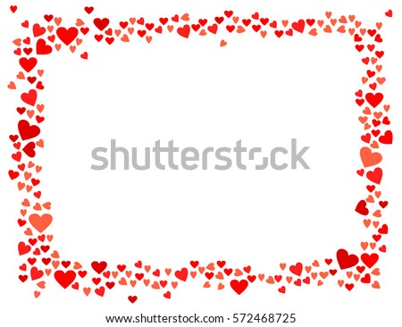 abstract love for your valentines day greeting card design red hearts horizontal frame isolated on - Heart Frame